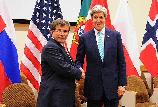 Turkey's FM Davutoglu meets Kerry in Brussels