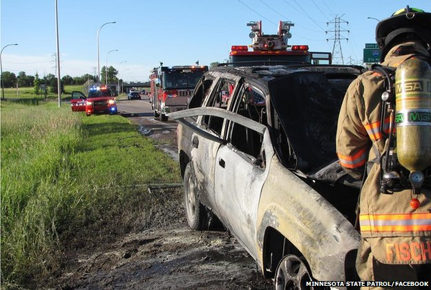 US man uses super-human strength to save driver from burning car