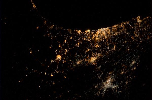 Gaza bombings seen from space station