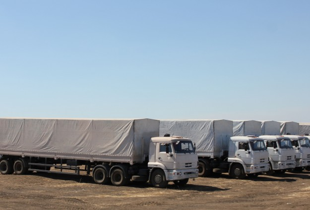 Russian aid convoy arrives in Ukrainian city of Luhansk