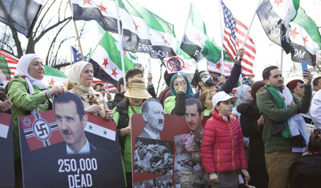 Hundreds of Syrians protest Assad regime in Washington