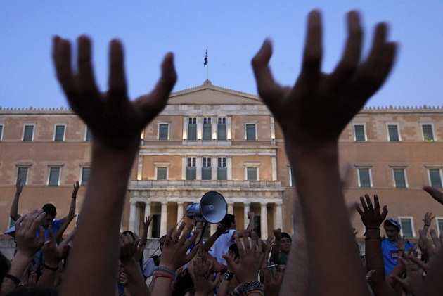 Anti-austerity protesters rally at Greek parliament