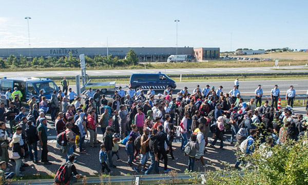 Refugees flood motorway in bid to reach Sweden