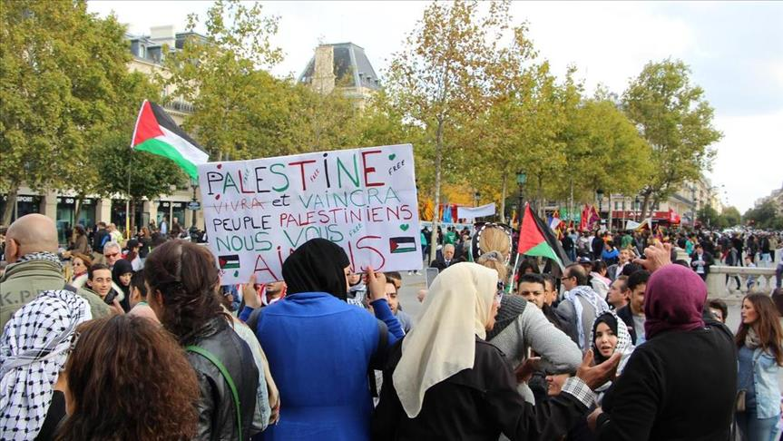 Rally in Paris urges France to recognize Palestine state