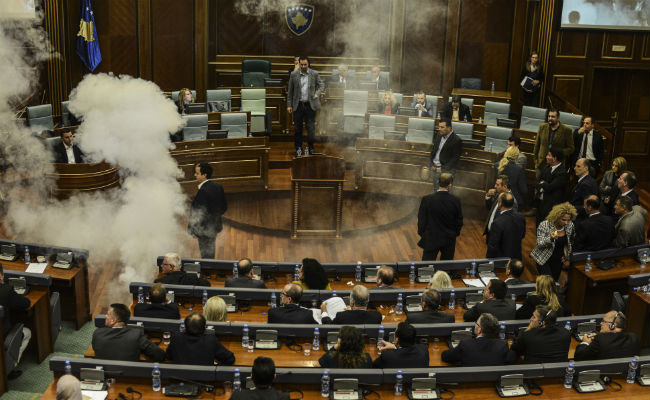 Kosovo presidential vote disrupted with tear gas