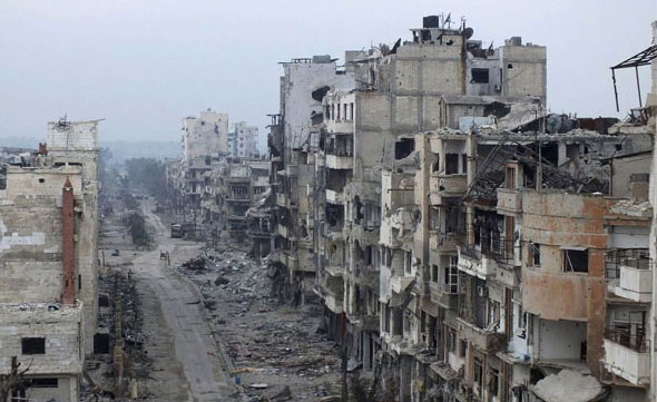 Drone footage shows full devastation of Homs, Syria