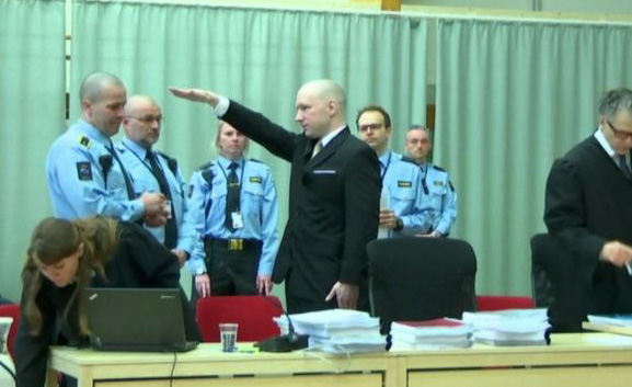 Killer Breivik gives Nazi salute as trial begins