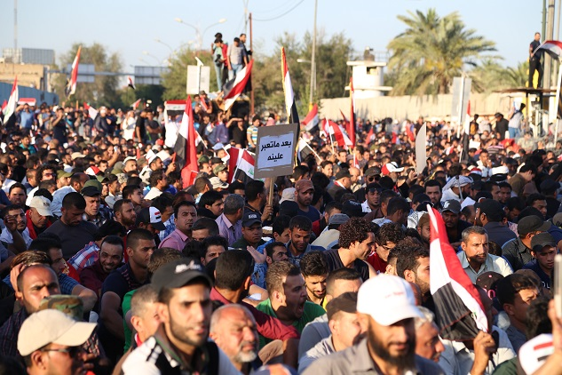 Iraqis stage sit-in to protest collapse of services