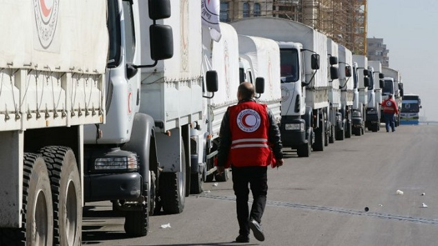 Turkish aid agencies distribute food to Afrin civilians