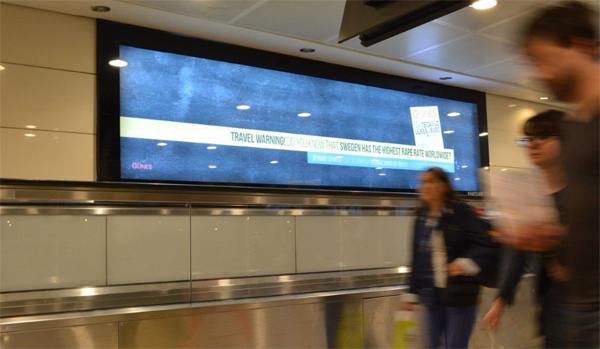 Istanbul airport ad warns of Sweden's high rape cases
