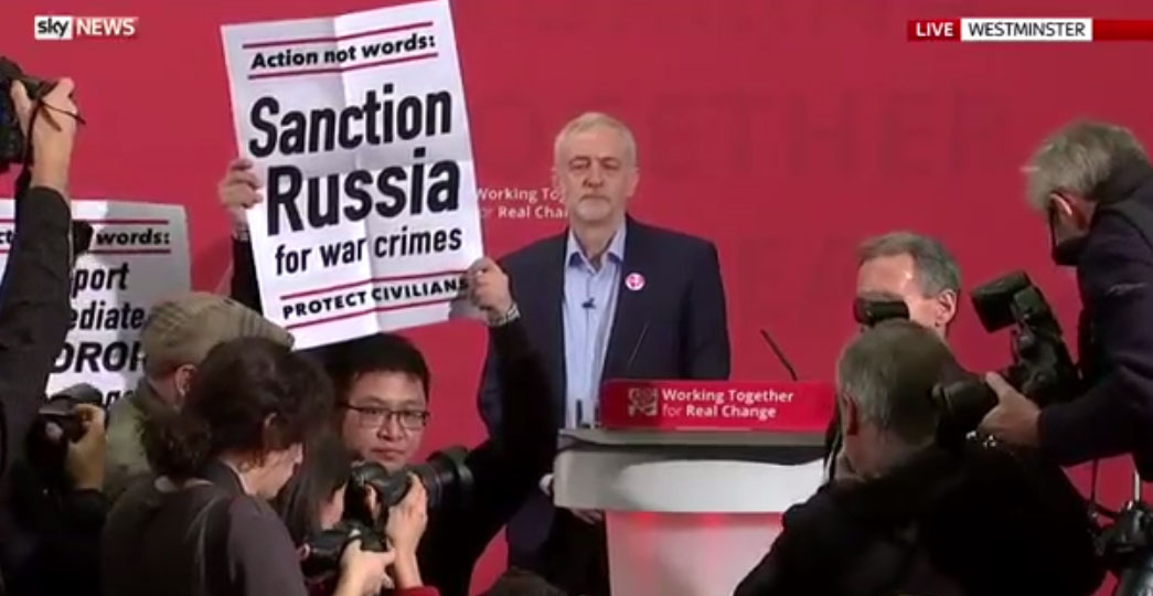 Jeremy Corbyn speech disrupted by Syria protesters