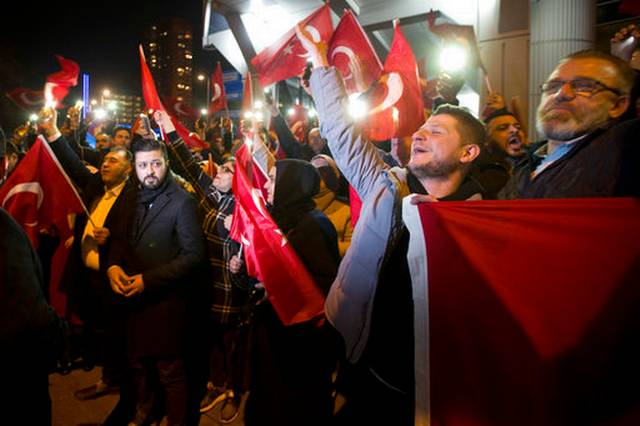 Turkish protesters gather near consulate in Rotterdam