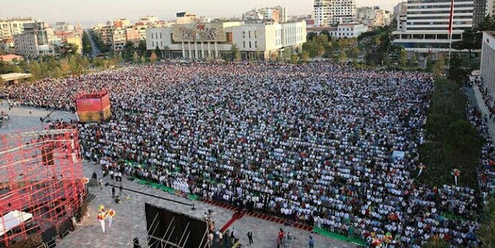 Albanian Muslim's pray for Eid on Tirana's new square