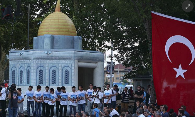 Rally held in Istanbul in solidarity with Palestinians