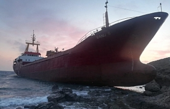 Cargo ship runs aground in Canakkale, Turkey