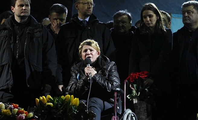 Freed Ukrainian leader calls protesters 'heroes'