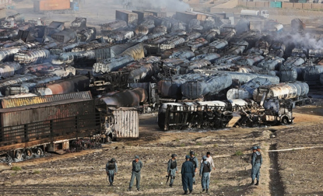 Taliban sets fire to 400 oil tankers in Afghan capital