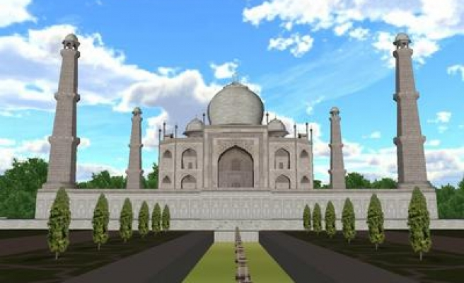 World famous white Taj Mahal turning yellow