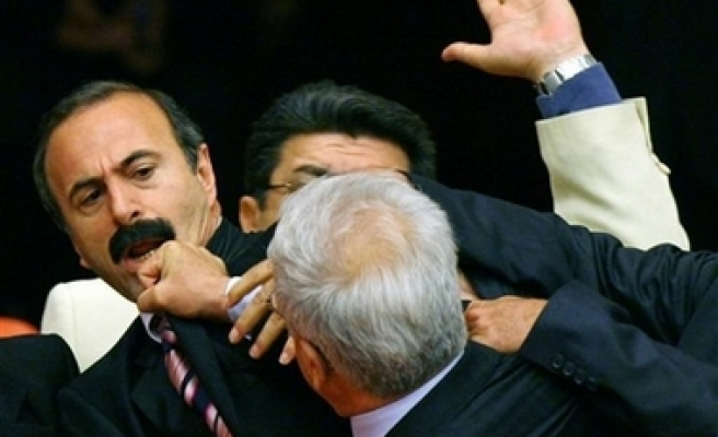 Turkish MPs fight during election reform debate