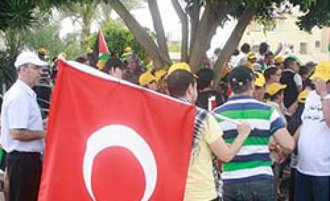 'Day of catastrophe' marked with Palestinian, Turkish flags