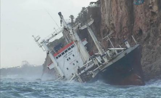 Bolivian flagged ship crashes into rocks in Turkey